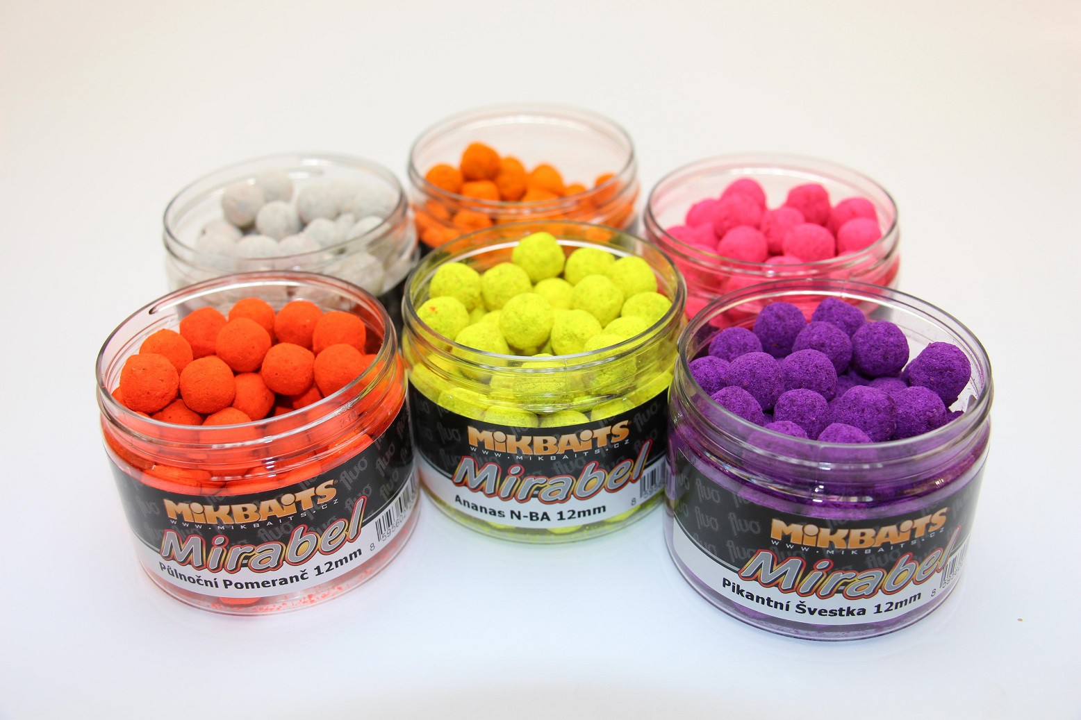 MIKBAITS Mirabel Fluo boilie 150ml - JAHODA 12mm