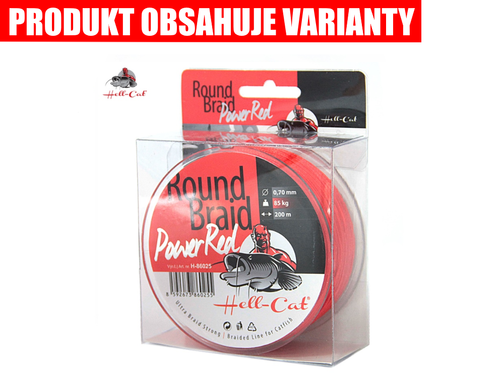 HELL-CAT Pletená šnúra - Round Braid Power Red (200m)
